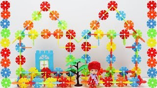 Kids Learn How to Build Toy House with Colorful Snowflakes Building Blocks Very Easily