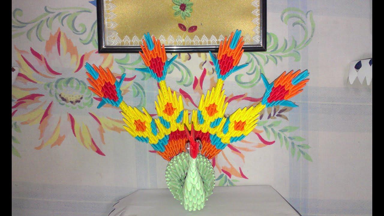 Модульное оригами-павлин схема