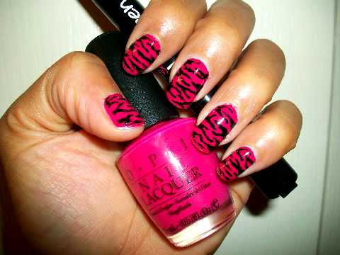 Nail Art Tutorial: Pink Animal Print Design