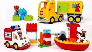 Ambulance Delivery Moving Truck and Boat Building Blocks Playset for Kids