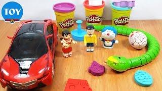 đồ chơi Doremon  - Đất nặn Playdoh biến hình siêu xe và con rắn khổng lồ
