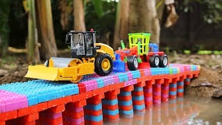 Bridge Construction Toys for Kids | Dump Truck, Bulldozer,  Road Roller ,wheel loader