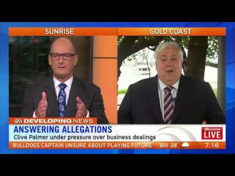 Clive Palmer on SUNRISE, responding to allegations raised on 4 Corners
