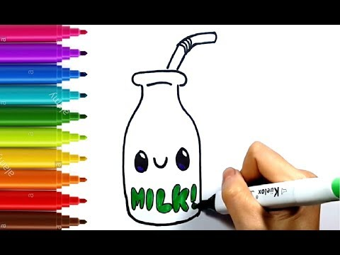 how to draw and color cute bottle of milk for kids | coloring page