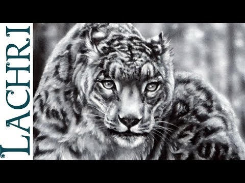 How to paint fur - snow leopard acrylic speed painting -  by Lachri