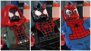 All Spider-Man Into the Spider-Verse Miles Morales suits in LEGO Marvel Superheroes 2 Cutscene