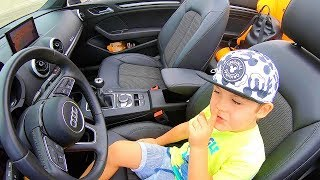 Ride on Audi A3 Cabrio with Papa | Driving to Ferrari Land | Family Fun Playtime