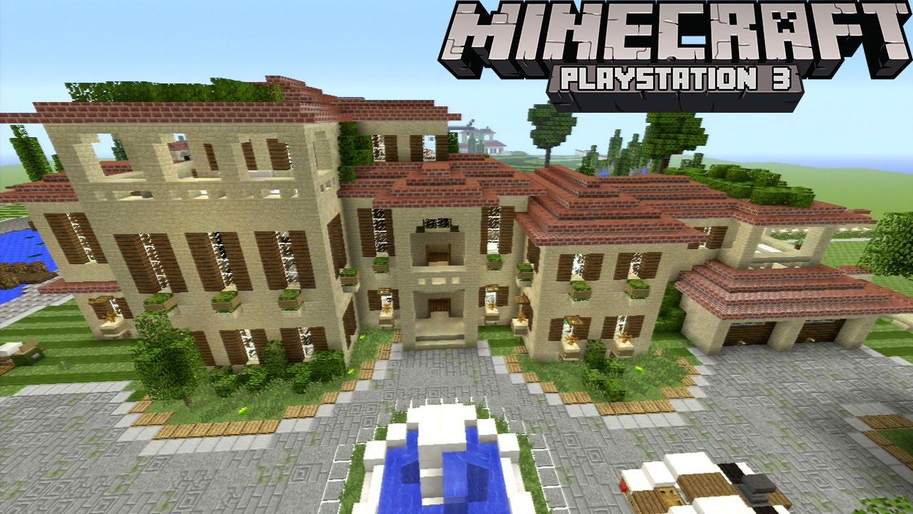Minecraft ps3 huge mansion compound pools garden for Best house compound designs