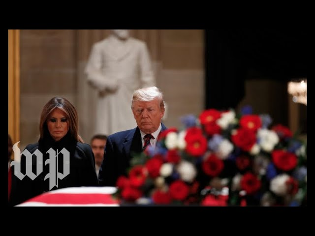 Trumps pay respects to former president George H.W. Bush