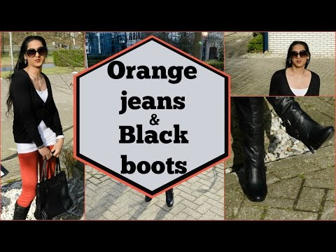 Crossdresser - quick casual outfit - black high heeled boots and red jeans