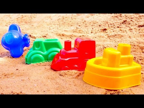 Learn colors with sand pit toys. Learning videos.