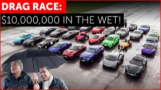 Drag Race! Crazy Wet-Weather Supercars on the Top Gear Test Track!