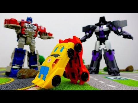 Видео с игрушками: игры #трансформеры.Гонка! Кто сильнее? Автоботы или десептиконы?