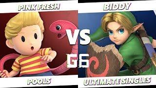Glitch 6 SSBU - Pink Fresh (Lucas) VS Biddy (Young Link) Smash Ultimate Pools