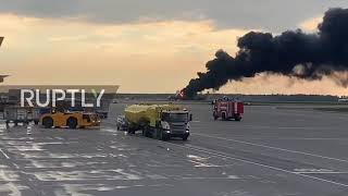 Russia: At least 6 injured as plane crash lands, catches fire at Moscow airport