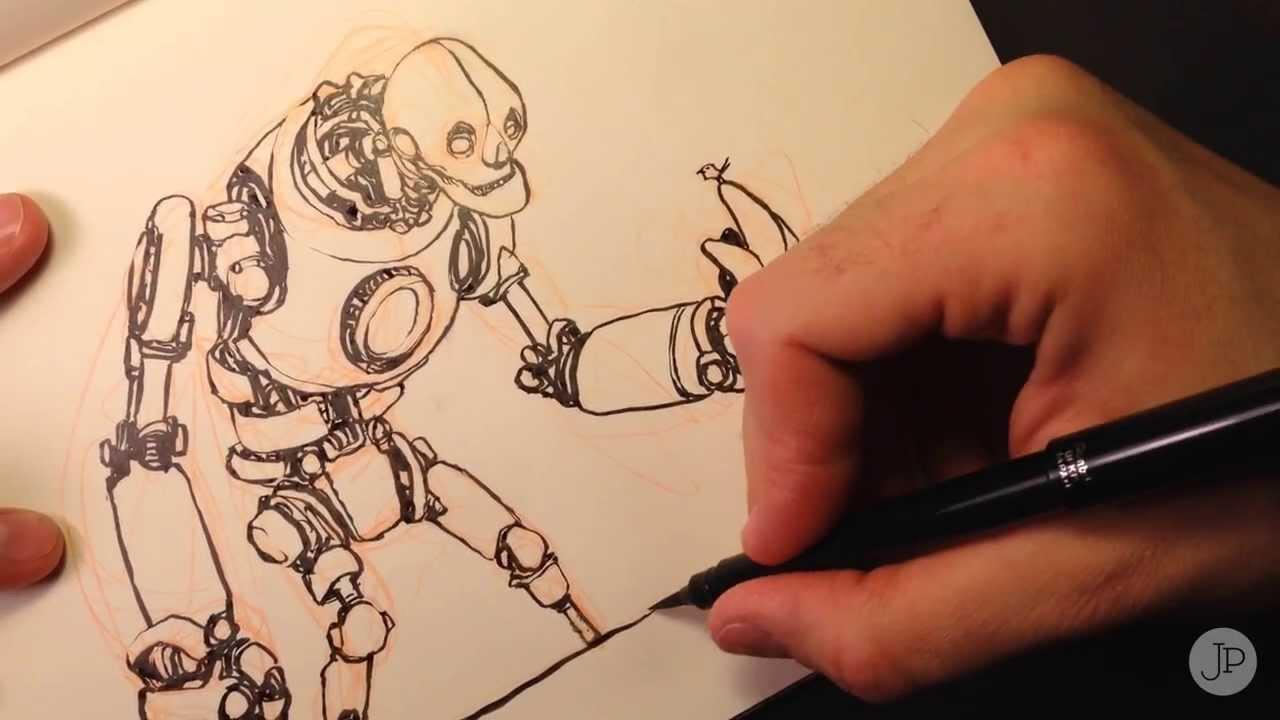 Robot Sketch Drawing Drawing a Robot