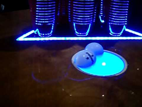 Wood Beer Pong Table With Led S And Ball Washers Youtube
