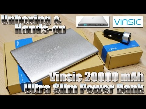 Vinsic 20.000 mAh Ultra Slim Power Bank [TEST & UNBOXING] Charge 10 times. Overcharge Protection