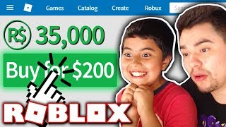 GIVING MY LITTLE BROTHER 35,000 ROBUX!! *$200+ WORTH!* (Roblox)