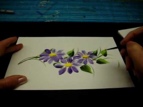 One Stroke Painted Vines and Daisys- By DJ Creations