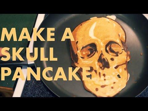 How to make a SKULL PANCAKE (Pancake Art Tutorial)