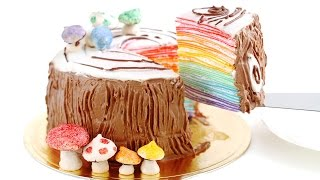 Rainbow Log Mille Crêpe Cake Mille Crepes DIY Rainbow Treats 무지개 크레이프 케이크