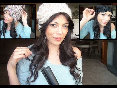 How to Curl your hair with a straightening Iron : Wearing a hat