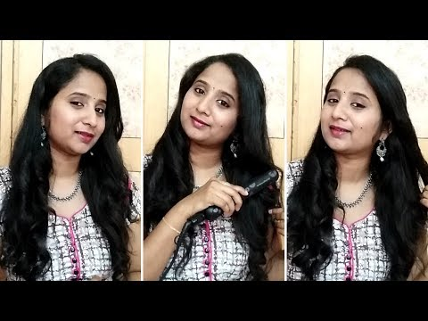How to Curl your Hair using Straightener in Telugu || Simple and Easy way