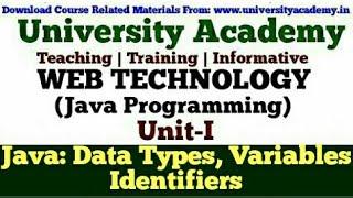 L14:Web Technology,Java Programming for Beginner,Java Data Type, Java Variables,Java Identifier