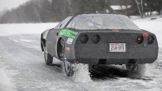 Racing a Corvette on ICE - Crazy Ride Along!!