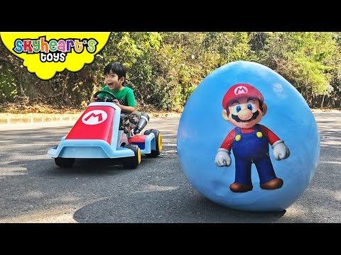 SUPER MARIO Giant Egg Surprise! Luigi, Toad, Bowser, Odyssey Super Mario toys for kids run kart