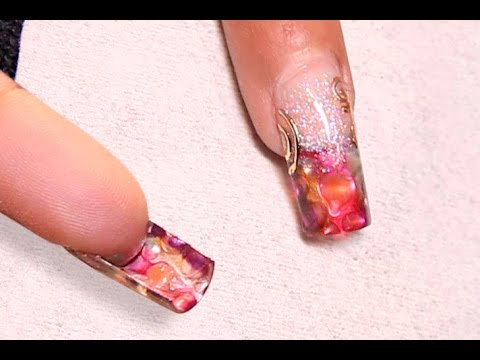 Underside Nails: Liquid Metal Gel Color French Nail Art