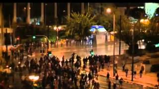 HUGE RIOTS OUTSIDE PARLIAMENT ATHENS GREECE 7TH NOVEMBER 2012
