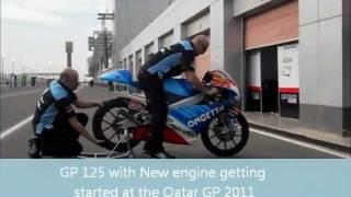 Aprilia MotoGP 125 bike getting started with new engine-Qatar 2011.wmv