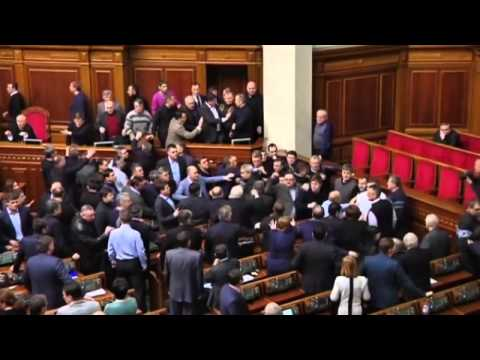 Ukraine protests  Fight breaks out between politicians in parliament