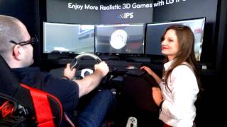 LG Triple Monitor 3D Racing Simulator CES 2012
