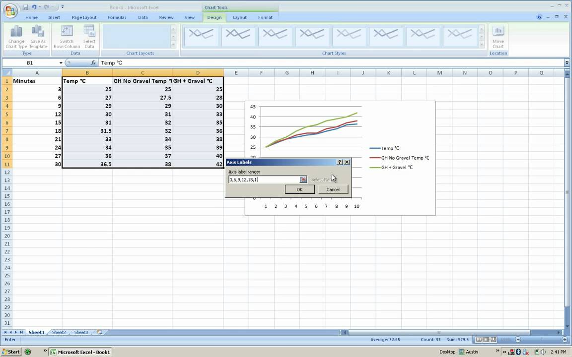 how to change the x axis on a graph in excel 2007