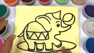 Đồ chơi TÔ MÀU TRANH CÁT CHÚ VOI LÀM XIẾC - Coloring elephants so kute (Thỏ Trắng)
