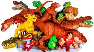 Box of Toys, Lots of T-rex Dinosaurs, Jurassic World, The Good dinosaur, The Lion King, Toy Story