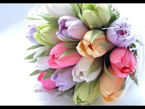 Тюльпан из гофрированной бумаги своими руками с пошаговым