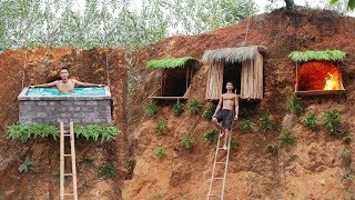 Build Undergroud Hut System And Swimming Pool On The Cliff To Avoid Wildlife ( Full Video )