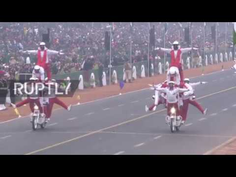 India: Motorcycle riders perform daredevil stunts at Republic Day parade