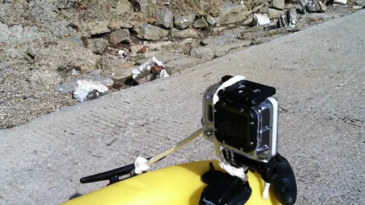 How to mount gopro hero 3 on a kayak for free youtube for Gopro fishing mounts