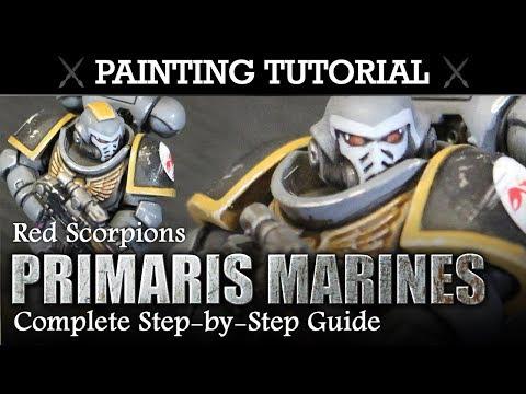How To Paint Primaries Space Marines (RED SCORPIONS) Warhammer 40K Painting Tutorial   HD