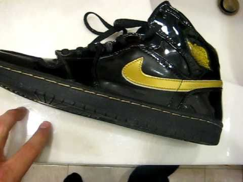 Black And Gold Nike Leather Shoes