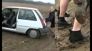 Miss Iris & Miss Lelyte : stuck in the mud !!! | Trailer Pedal Pumping