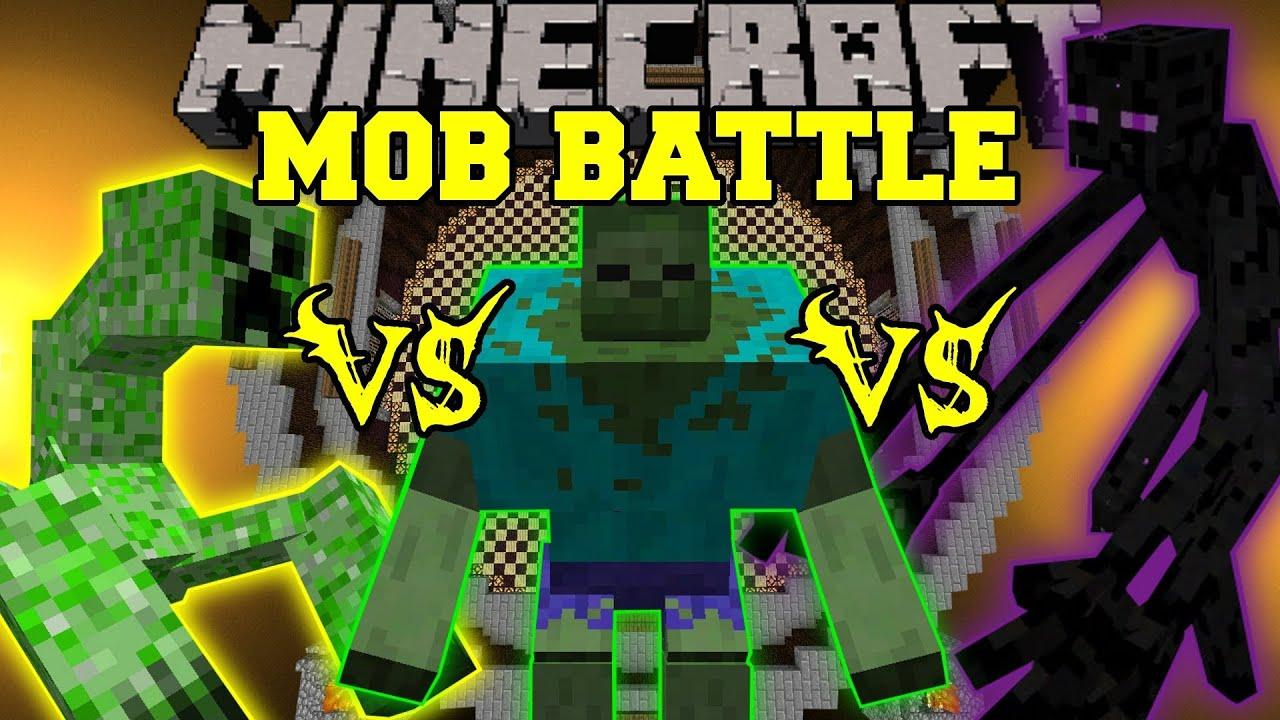 Mutant enderman vs mutant creeper vs mutant zombie - Minecraft zombie vs creeper ...