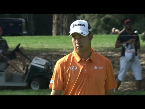 Hideki Matsuyama holes lengthy putt on the par-3 11th hole at Frys.com