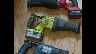 Ryobi P516 vs m18 fuel Sawzall cut speed tests & thoughts