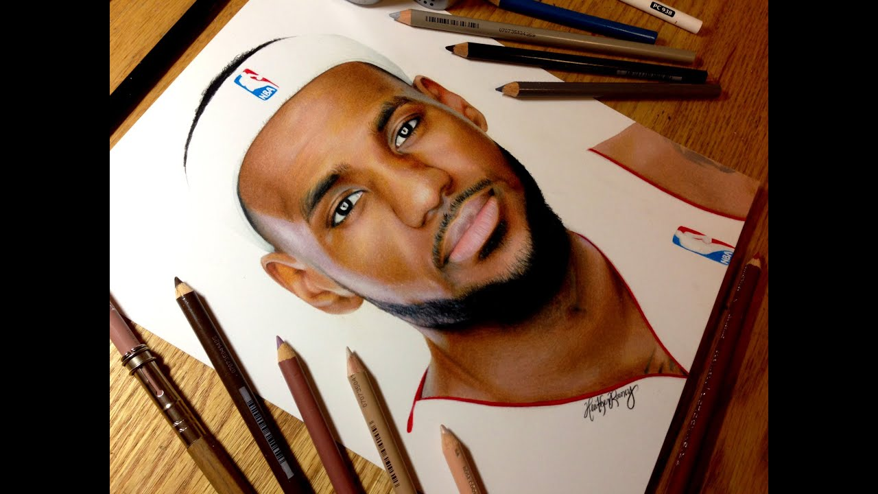 Lebron Dunking Drawing Drawing Lebron James